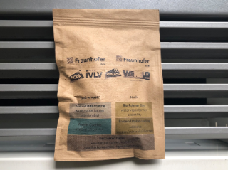 A resealable bag made of paper with the coating on the inside. After use, the packaging is placed in the waste paper recycling bin with the bioactive materials.