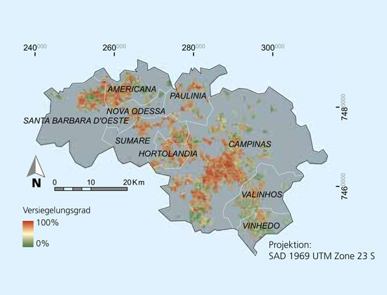 Sealed soil areas in the cities based on Landsat satellite data.